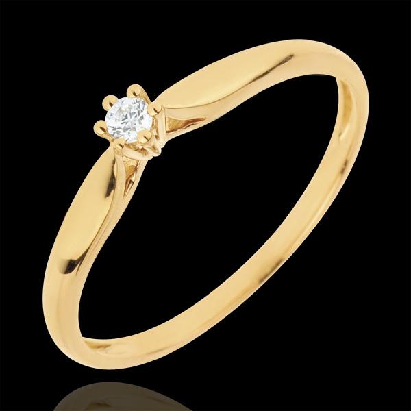 Bague Solitaire Roseau 6 griffes - 0.05 carat - or jaune 18 carats