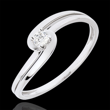 Bague Solitaire Silly - or blanc 18 carats