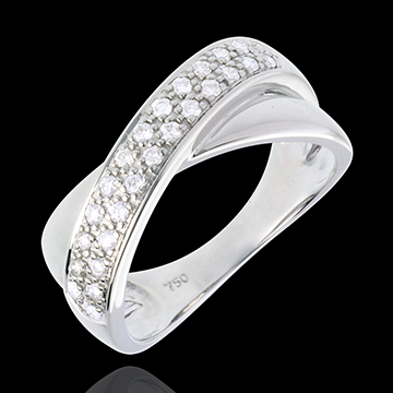 Bague tandem or blanc 18 carats semi pavée - 0.26 carats - 26 diamants