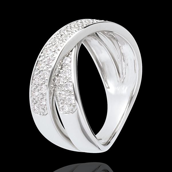 Bague tandem pavée - 0.5 carats - 36 diamants - or blanc 18 carats