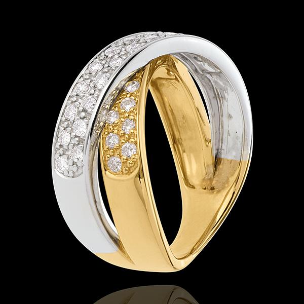 Bague tandem pavée - 0.5 carats - 36 diamants - or blanc et or jaune 18 carats
