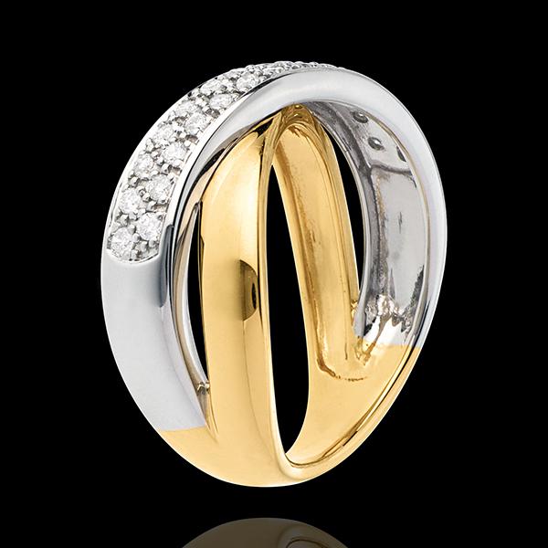 Bague tandem semi pavée - 0.26 carats - 26 diamants - or blanc et or jaune 18 carats