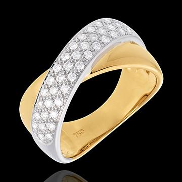 Bague tandem semi pavée - 0.4 carats - 40 diamants - or blanc et or jaune 18 carats