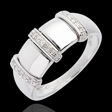 Bague triade or blanc 18 carats pavée - 9 diamants