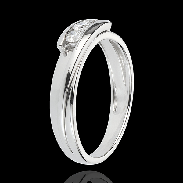 Bague trilogie bipolaire or blanc 18 carats - 0.24 carats - 3 diamants