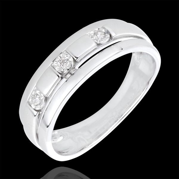 Bague trilogie bysance or blanc 18 carats et diamants