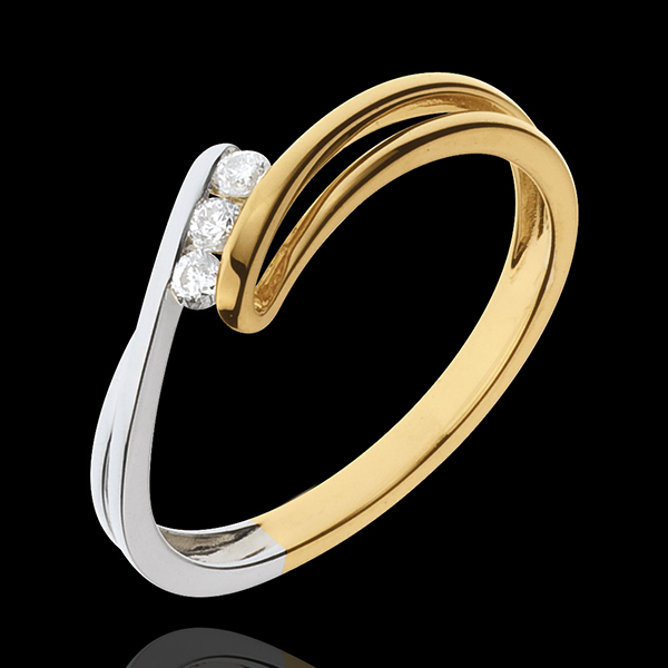 Bague trilogie Nid Précieux - Givre - 3 diamants - or blanc et or jaune 18 carats