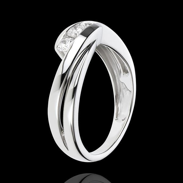Bague trilogie Nid Précieux - Ritournelle - or blanc 18 carats - 0.32 carat - 3 diamants