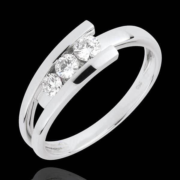 Bague Trilogie Nid Précieux - Trianon - or blanc 18 carats - 0.31 carat - 3 diamants