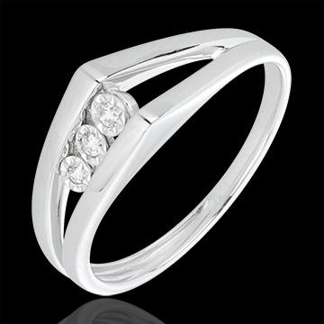 Bague trilogie odyssée or blanc 18 carats et diamants