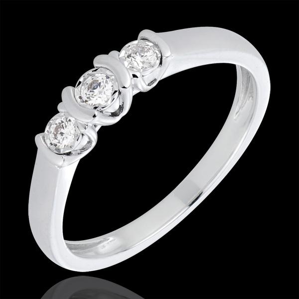 bague trilogie parenthèses or blanc 18 carats et diamants