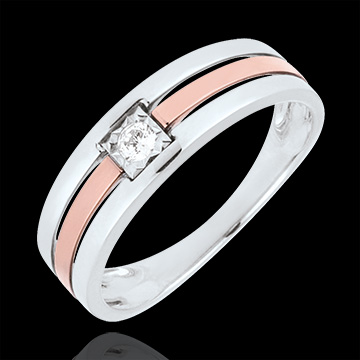 Bague Triple rangs diamant 0.062 carat - or blanc et or rose 18 carats