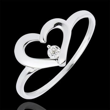 Bague Cœur Précieux - diamant 0.01 carat - or blanc 18 carats