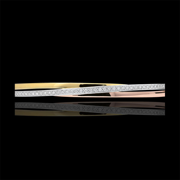 Bangel Bracelet Saturn Diamonds - 3 golds - 9 carats