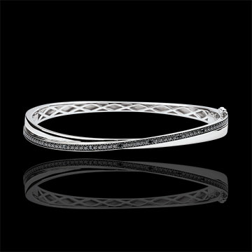 Bangel Bracelet Saturn Duo - white gold - black diamonds - 9 carats