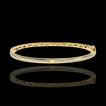 Bangle Bracelet Promise - yellow gold and diamonds - 9 carats