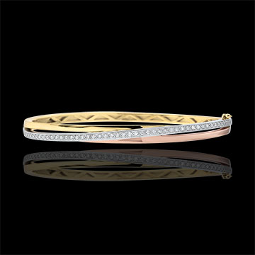 Bangle Saturnus Diamant - 3 goudkleuren - 9 karaat