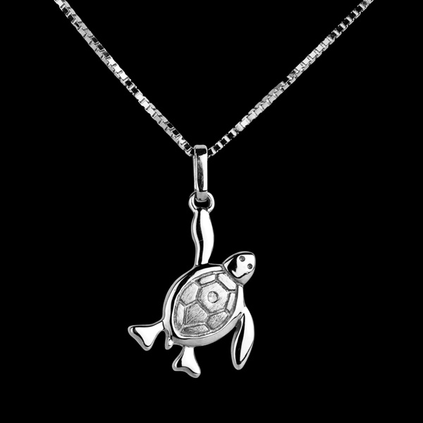 Bébé tortue - grande - or blanc 9 carats