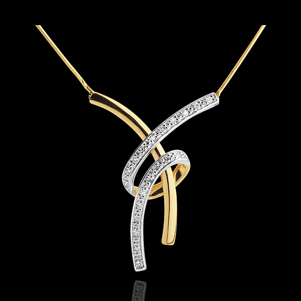 Bejewelled Yellow Gold Sensual Necklace - 20 Diamonds