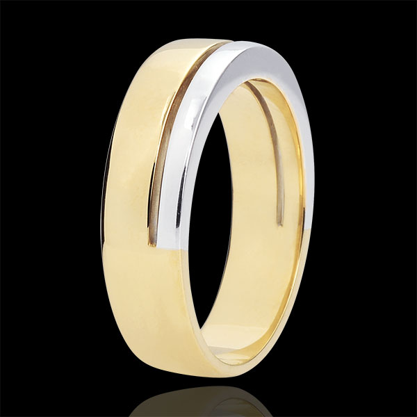 Bi-colour Gold Diamond Olympia Wedding Band - Large Model - 18 carats