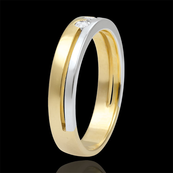 Bi-colour Gold Olympia Trilogy Wedding Band - Small Model