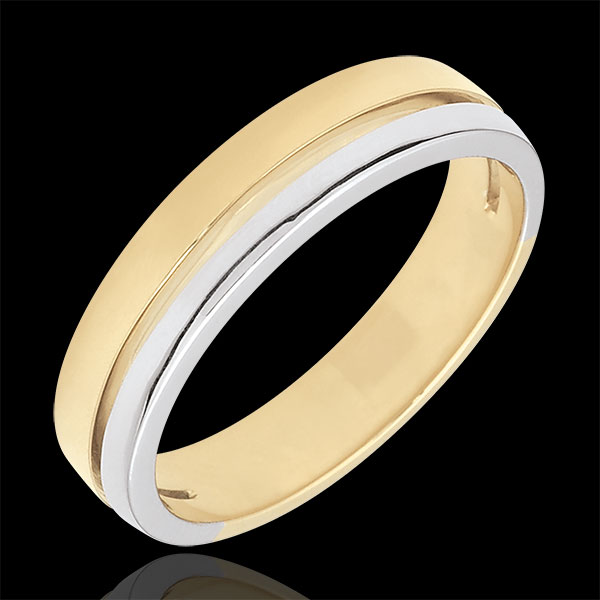 Bi-colour Gold Olympia Wedding Band - Small Model - 18 carats