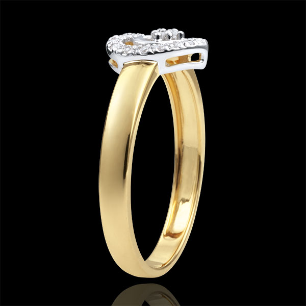Bi-colour Gold Paris Heart Ring - 18 carats