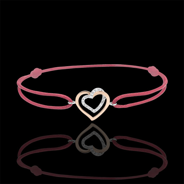 Bi-colour Rose and White Gold Diamond Entwined Heart Bracelet with a red cord