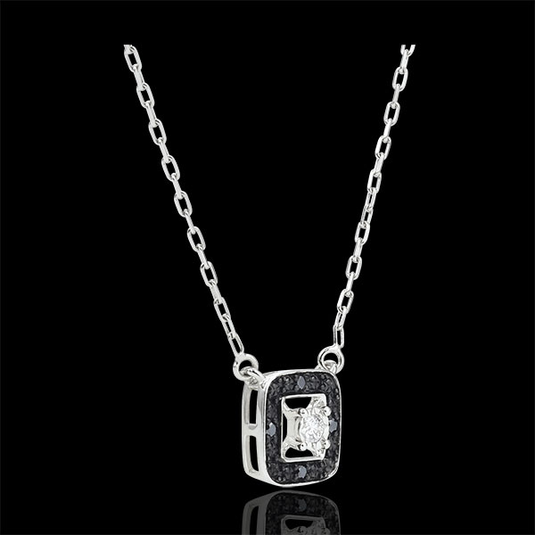 Black diamond Necklace Clair Obscure - white gold - 0.03 carat