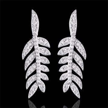 Boucle d'oreilles Lauriers de Gloire - or blanc 9 carats et diamants