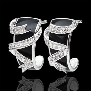 Boucles d'oreille or blanc 9 carats Clair Obscur - Ruban d'étoiles - diamants et laque noire