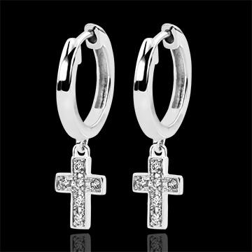 Boucles d'oreilles Abondance - Croix Diamantée - or blanc 18 carats et diamants
