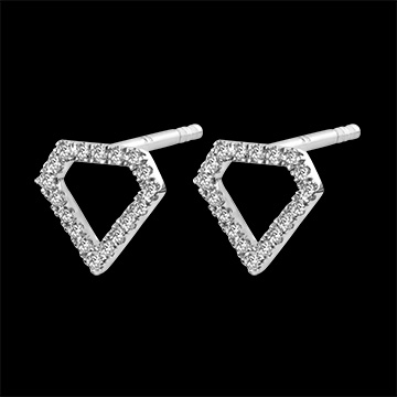 Boucles d'Oreilles Abondance - Diamantra - or blanc 9 carats et diamants