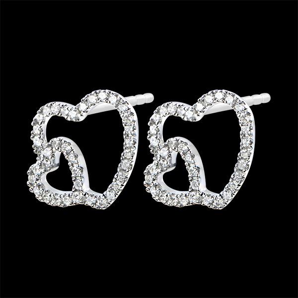 Boucles d'Oreilles Abondance - Double Coeur - or blanc 18 carats et diamants