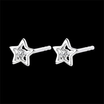 Boucles d'oreilles Abondance - Mon Étoile - or blanc 9 carats et diamants