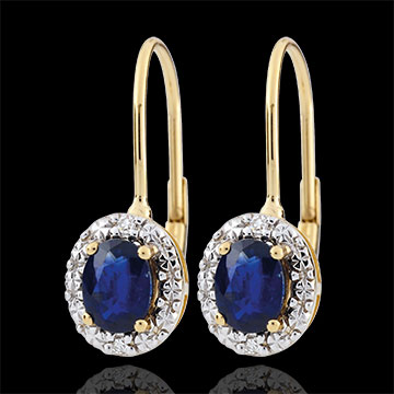 Boucles d'oreilles Apolline - saphirs - or blanc et or jaune 18 carats