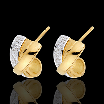 boucles d'oreilles attraction - or blanc et or jaune 18 carats