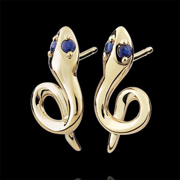 Boucles d'oreilles Balade Imaginaire - Mini venin - saphirs - or jaune 9 carats
