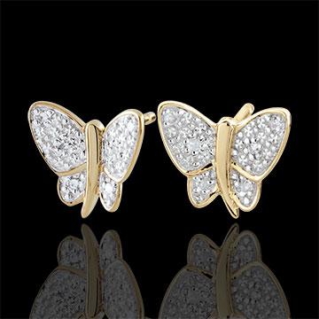 Boucles d'oreilles Balade Imaginaire - Papillon Musicien - 2 ors - or blanc et or jaune 9 carats