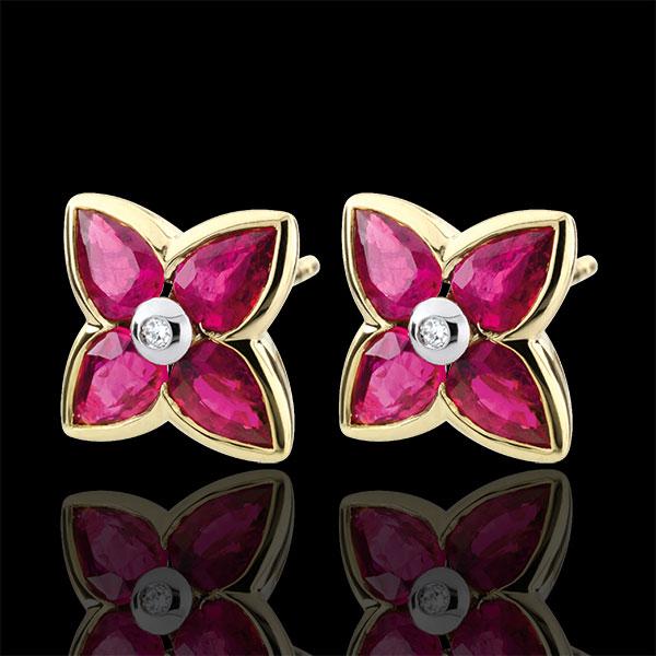 Boucles d'oreilles Belle étoile - rubis - or jaune 9 carats