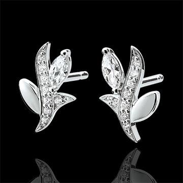 Boucles d'oreilles Bois Mystérieux - or blanc 9 carats et diamants navettes