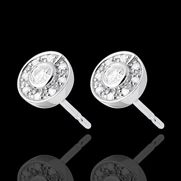 Boucles d'oreilles bouton or blanc 18 carats - 0.25 carats