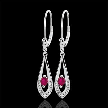 Boucles d'oreilles Britanie - rubis - or blanc 9 carats