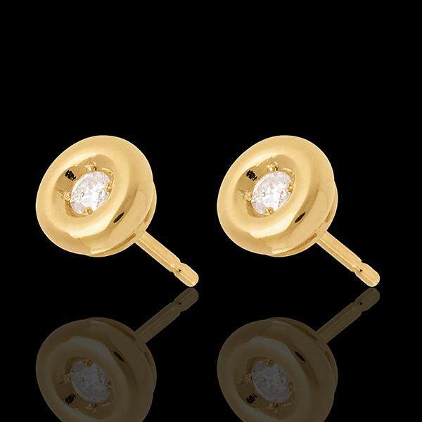 Boucles d'oreilles calice diamant - puce or jaune 18 carats