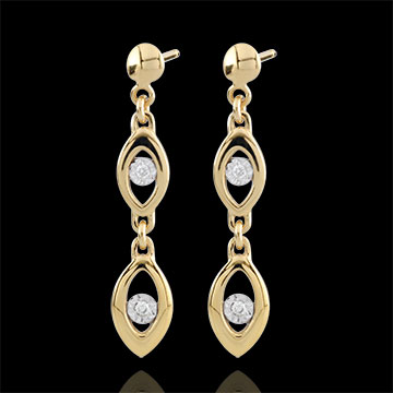 Boucles d'oreilles Le charme du paon - deux ors - or blanc et or jaune 18 carats