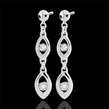 Boucles d'oreilles Le charme du paon - or blanc 18 carats
