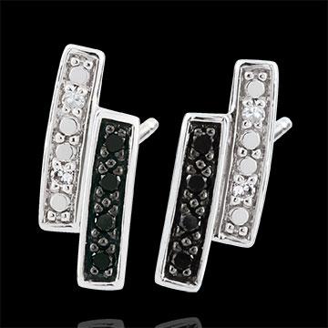Boucles d'oreilles Clair Obscur puces - or blanc 9 carats, diamant noir