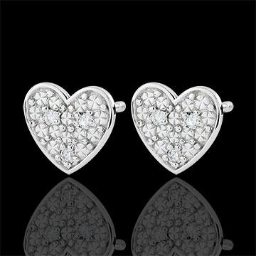Boucles d'oreilles coeur Dita - or blanc 9 carats