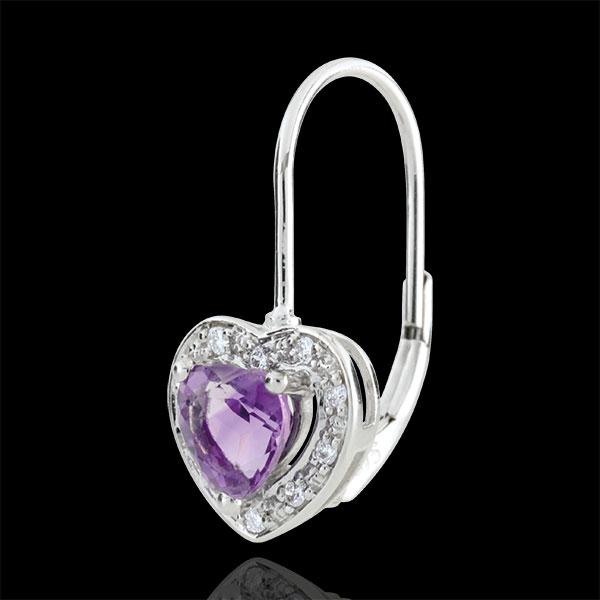 Boucles d'oreilles Coeur Enchantement - améthyste - or blanc 9 carats