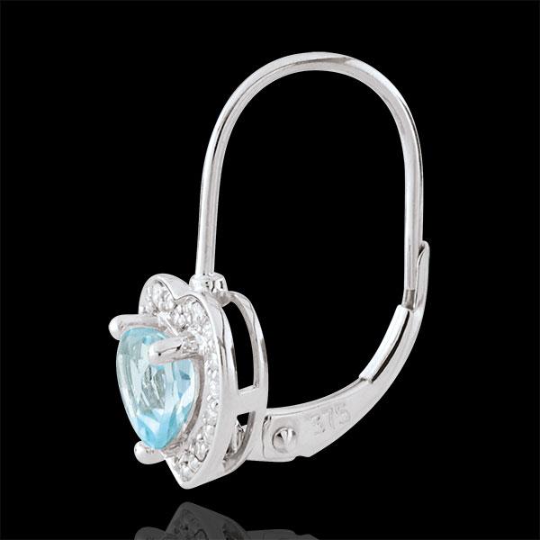 Boucles d'oreilles Coeur Enchantement - topaze bleue - or blanc 18 carats